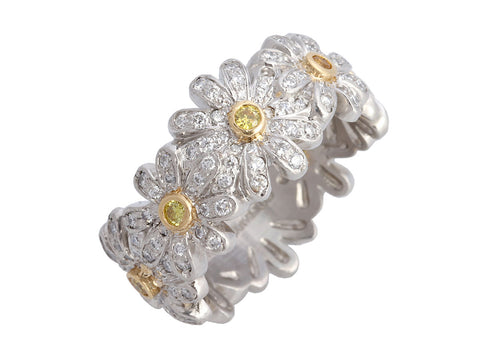 Tiffany & Co. Platinum & 18K Yellow Gold Schlumberger Diamond Daisy Band Ring