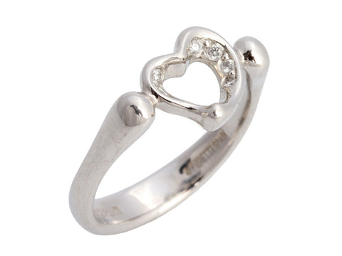 Tiffany & Co. Platinum Diamond Elsa Peretti Open Heart Ring