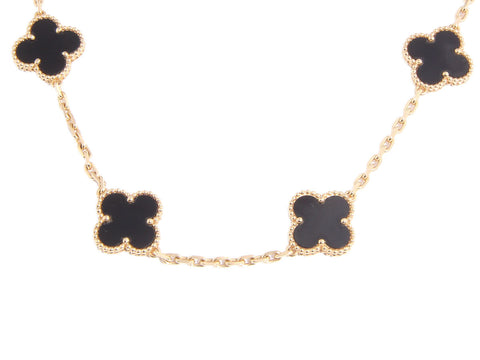 Van Cleef & Arpel Onyx Alhambra Necklace