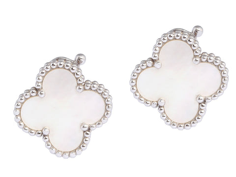 Van Cleef & Arpels Mother of Pearl Vintage Alhambra Ear Clips