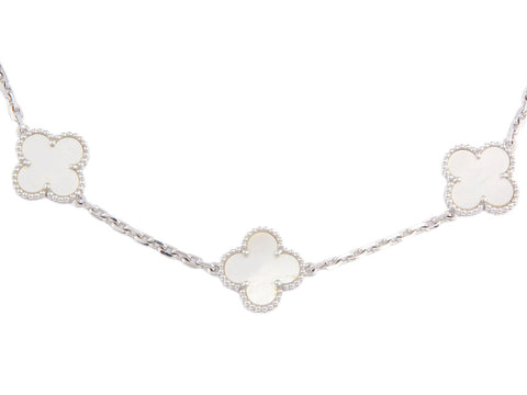 Van Cleef & Arpels Vintage Mother of Pearl Ten Motif Alhambra Necklace