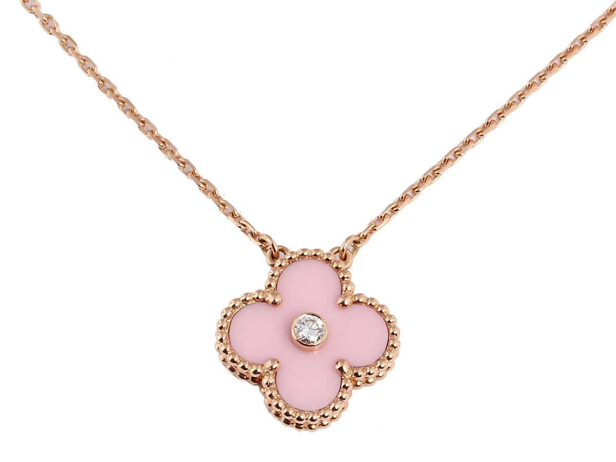 Van Cleef & Arpels Pink Porcelain Diamond Alhambra Necklace