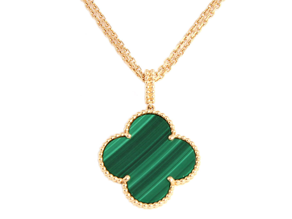 Van Cleef & Arpels Magic Vintage Alhambra Malachite Necklace
