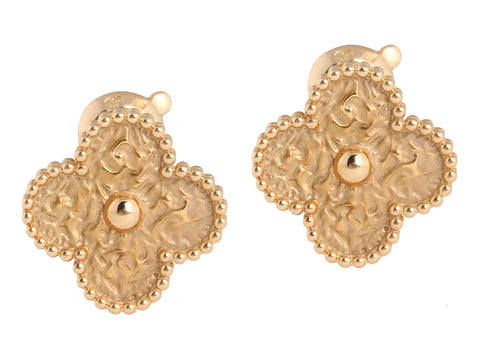 Van Cleef & Arpels 18K Gold Alhambra Ear Clips