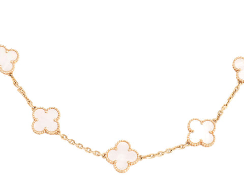 Van Cleef & Arpels Vintage Mother of Pearl Alhambra Necklace