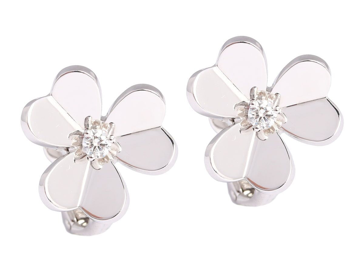 Van Cleef & Arpels Small Frivole Diamond and White Gold Earclips