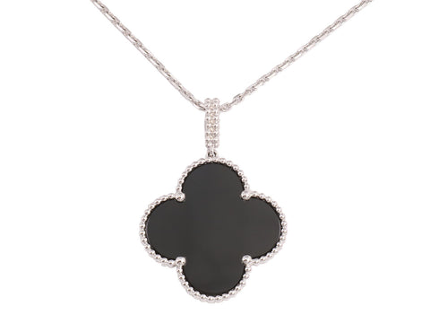 Van Cleef & Arpels Long Onyx Magic Alhambra NYC Limited Edition Necklace