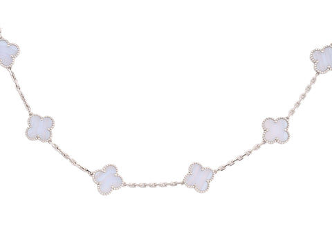 Van Cleef & Arpels 20 Motif Vintage Alhambra White Gold Chalcedony Necklace