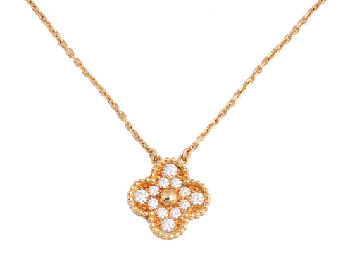 Van Cleef & Arpels Vintage Diamond Alhambra Pendant Necklace