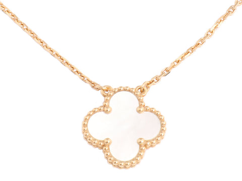Van Cleef & Arpels 18K Gold and Mother of Pearl Vintage Alhambra Necklace
