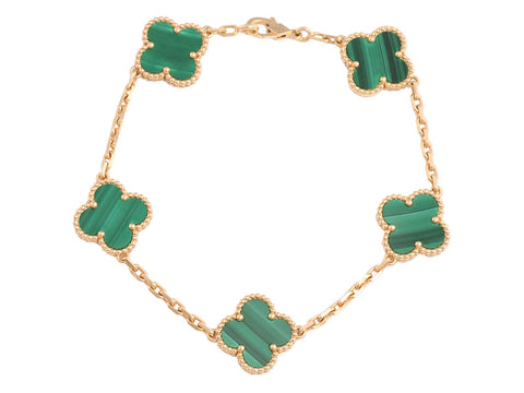 Van Cleef & Arpels 18K Gold and Malachite Vintage Alhambra Bracelet