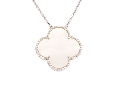 Van Cleef & Arpels 18K White Gold and Mother of Pearl Magic Vintage Alhambra Pendant