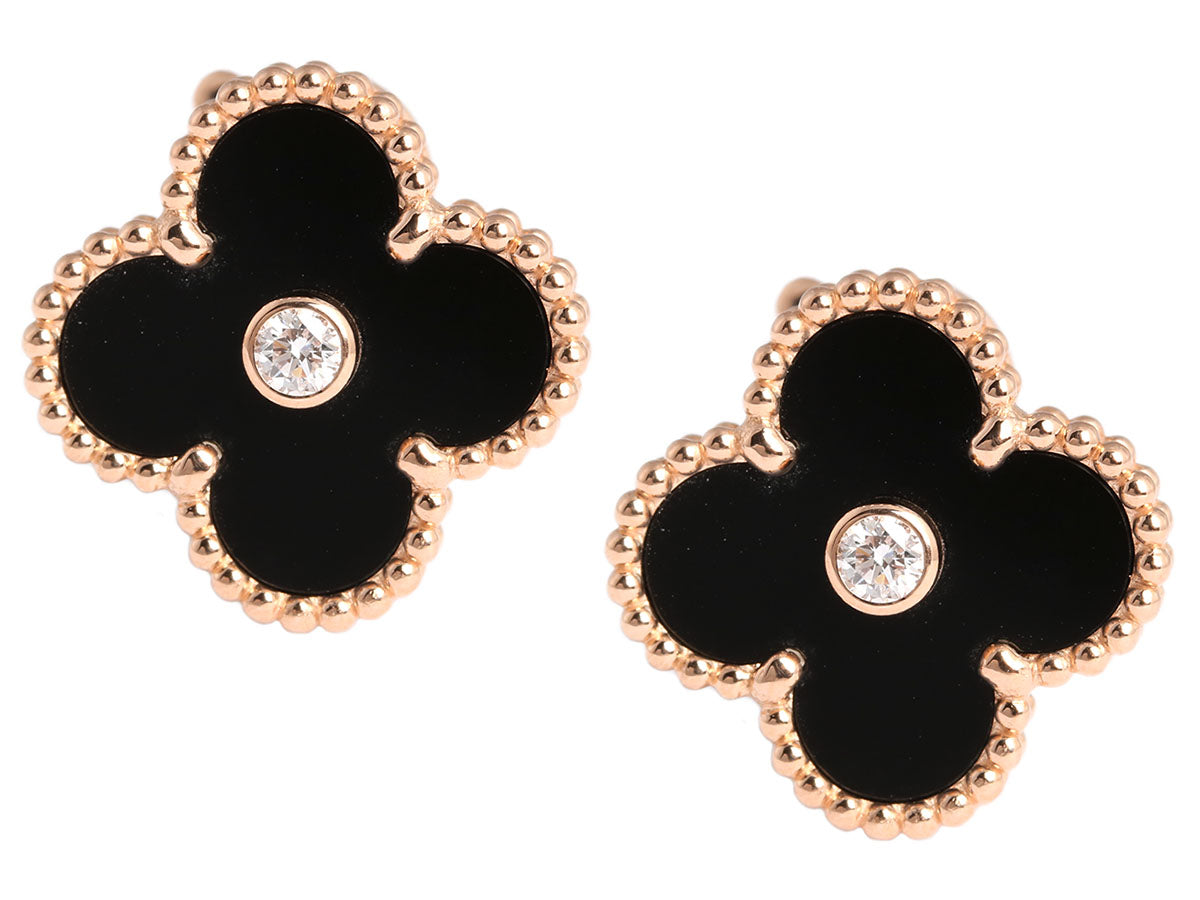 6a3afd772ddb Van Cleef   Arpels Diamond Onyx Vintage Alhambra Earrings