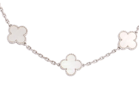 Van Cleef & Arpels 10 Motif Mother of Pearl Vintage Alhambra Necklace
