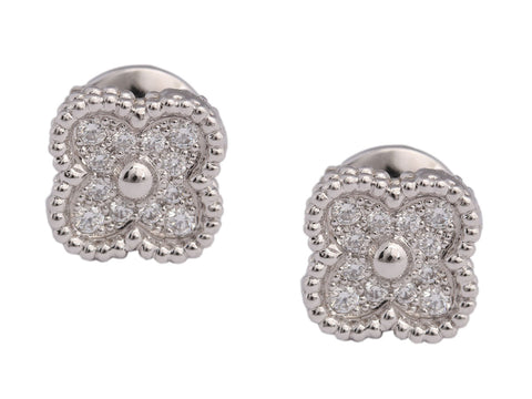 Van Cleef & Arpels 18K White Gold Diamond Sweet Alhambra Earstuds
