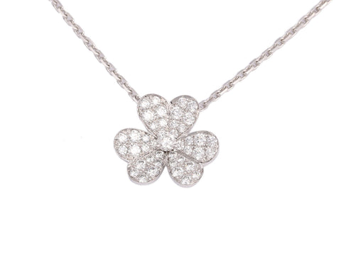 Van Cleef & Arpels Small 18K White Gold Diamond Frivole Necklace