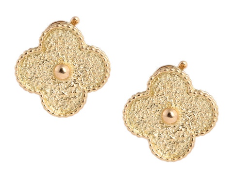Van Cleef & Arpels All 18K Yellow Gold Vintage Alhambra Earrings