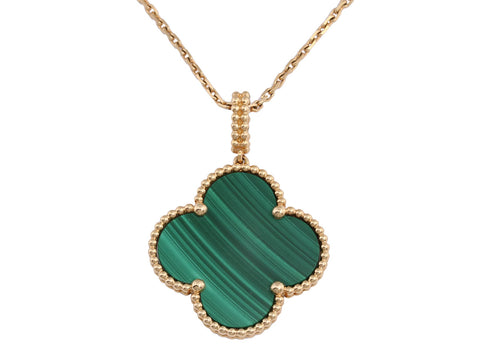 Van Cleef & Arpels Long 18K Yellow Gold Malachite Magic Alhambra Pendant Necklace