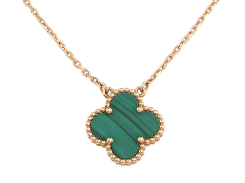 Van Cleef & Arpels 18K Yellow Gold Malachite Vintage Alhambra Pendant Necklace