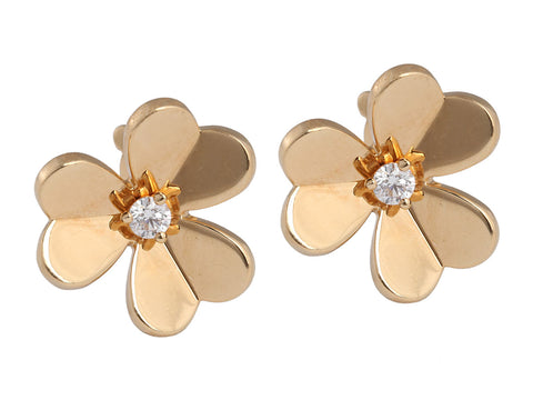 Van Cleef & Arpels Small 18K Yellow Gold and Diamond Frivole Earrings