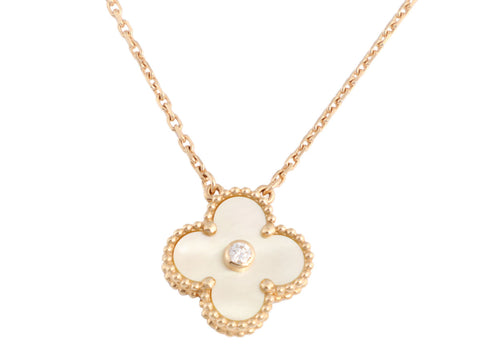 Van Cleef & Arpels Limited Edition Diamond and Gold Mother of Pearl Necklace