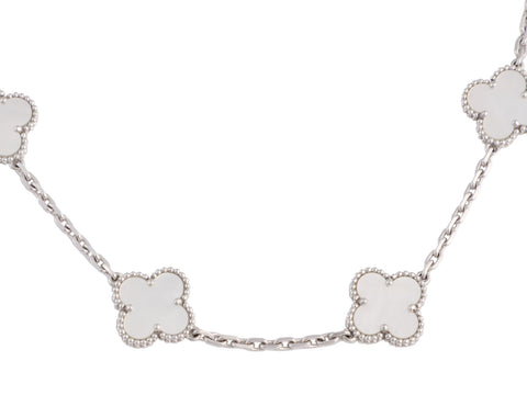 Van Cleef & Arpels 18K White Gold and Mother of Pearl 10-Motif Vintage Alhambra Necklace