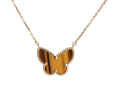 Van Cleef & Arpels 18K Yellow Gold Tiger Eye Lucky Alhambra Butterfly Necklace