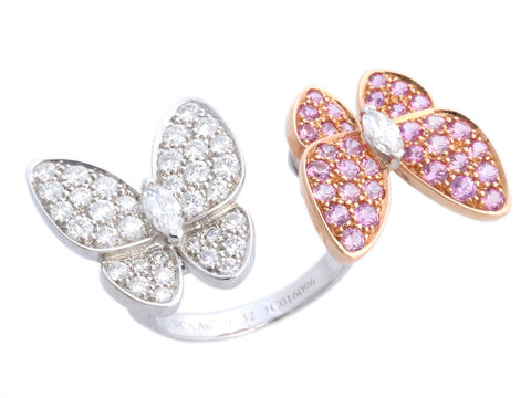 Van Cleef & Arpels 18K Gold Two Butterfly Between the Finger Ring