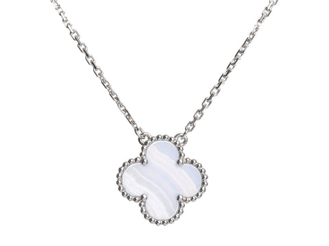 Van Cleef & Arpels 18K White Gold Chalcedony Vintage Alhambra Necklace