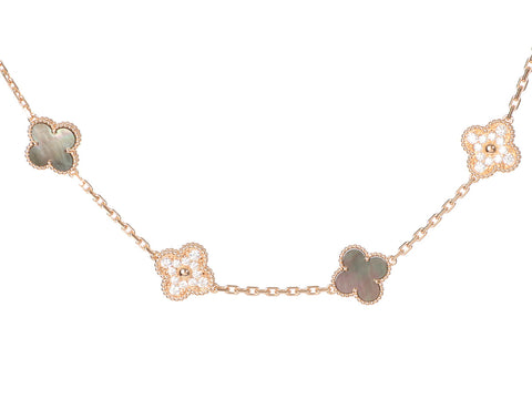 Van Cleef & Arpels Special Order 18K Rose Gold 10-Motif 50th Anniversary Diamond Necklace