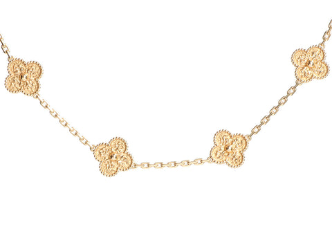 Van Cleef & Arpels 18K Yellow Gold 10-Motif Vintage Alhambra Necklace