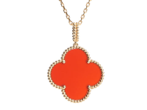 Van Cleef & Arpels Long 18K Yellow Gold Carnelian Magic Alhambra Pendant Necklace