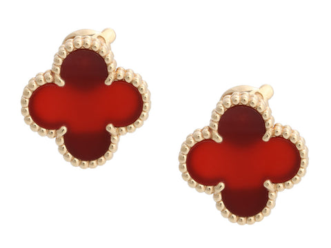 Van Cleef & Arpels 18K Yellow Gold Vintage Alhambra Carnelian Pierced Earrings
