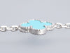 Van Cleef & Arpels 18K White Gold and Turquoise 10-Motif Vintage Alhambra Necklace