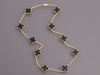 Van Cleef & Arpels 18K Yellow Gold Onyx 10-Motif Vintage Alhambra Necklace