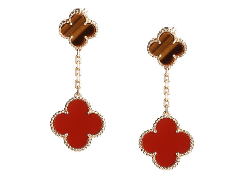 Van Cleef & Arpels 18K Yellow Gold Carnelian and Tiger Eye 2-Motif Pierced Drop Earrings