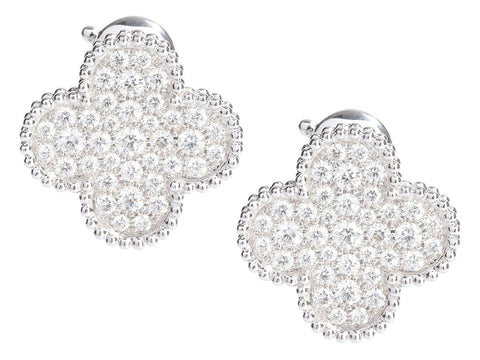 Van Cleef & Arpels 18K White Gold Diamond Magic Alhambra Pierced Ear Clips
