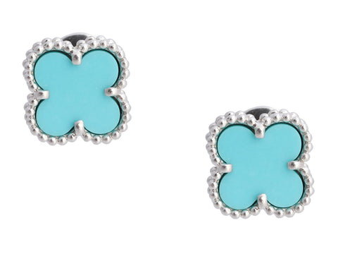 Van Cleef & Arpels 18K White Gold Sweet Alhambra Turquoise Pierced Earrings
