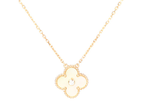 Van Cleef & Arpels 18K Yellow Gold Diamond Vintage Alhambra Holiday Pendant Necklace