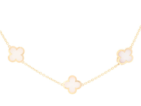 Van Cleef & Arpels 18K Yellow Gold 14-Motif Pure Alhambra Necklace