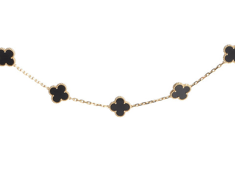 Van Cleef & Arpels Long 18K Yellow Gold 20-Motif Black Onyx Vintage Alhambra Necklace