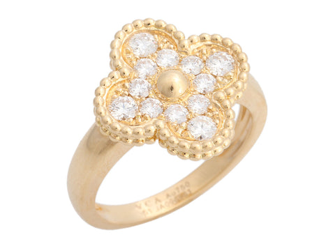 Van Cleef & Arpels 18K Yellow Gold Vintage Alhambra Diamond Ring