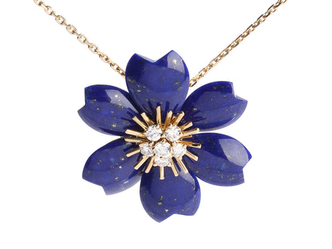 Van Cleef & Arpels Small 18K White Gold Lapis and Diamond Rose De Noel Pendant/Brooch