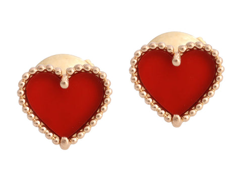 Van Cleef & Arpels 18K Rose Gold Carnelian Sweet Alhambra Heart Pierced Earrings