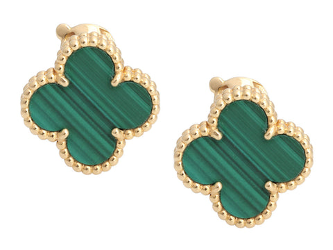 Van Cleef & Arpels 18K Yellow Gold Malachite Vintage Alhambra Pierced Earrings