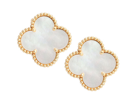 Van Cleef & Arpels 18K Yellow Gold Magic Alhambra Pierced Earrings