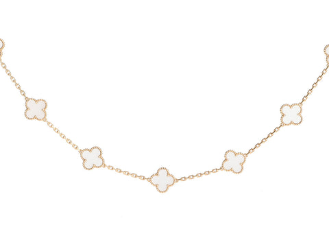 Van Cleef & Arpels 18K Yellow Gold and Rock Crystal 20-Motif Vintage Alhambra Necklace