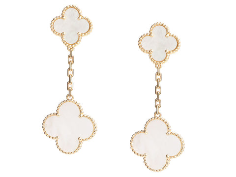 Van Cleef & Arpels 18K Yellow Gold 2-Motif Magic Alhambra Pierced Drop Earrings