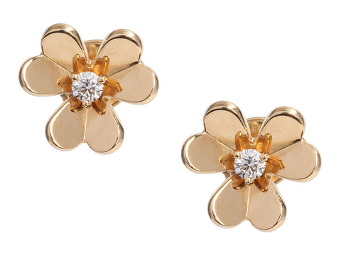Van Cleef & Arpels Mini 18K Yellow Gold Diamond Frivole Pierced Earrings