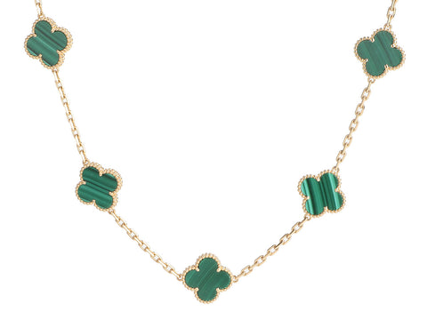 Van Cleef & Arpels 18K Yellow Gold Malachite 20-Motif Vintage Alhambra Necklace